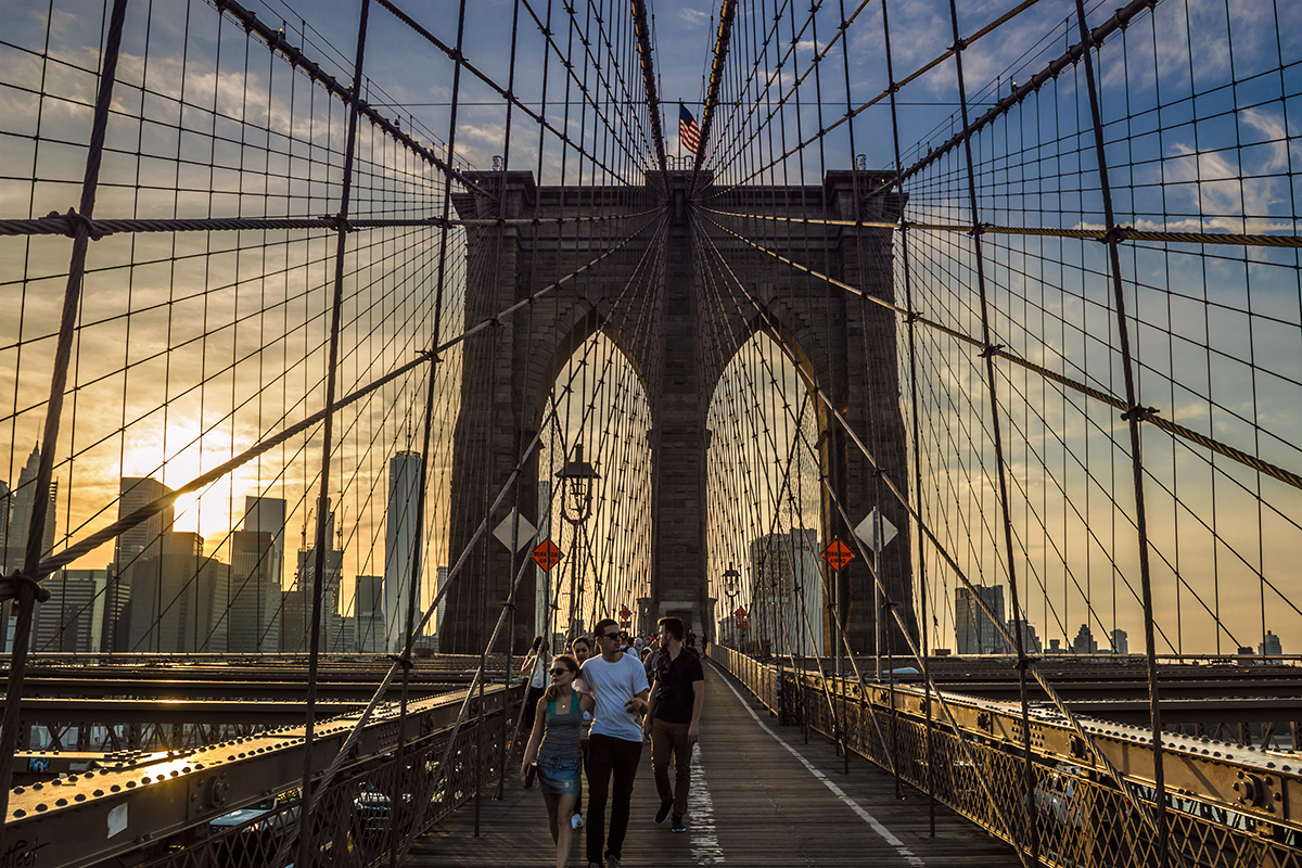 There's nothing like walking across the Brooklyn Bridge at sunset